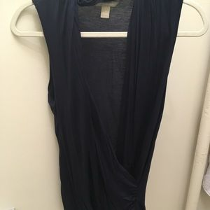 Dark Navy Draped Top by Banana Republic, Size S.